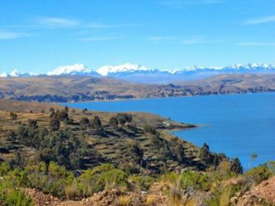 Lake Titicaca in the Andes Mountains