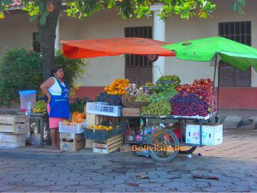 Selling fruit on the street corner in Trinidad