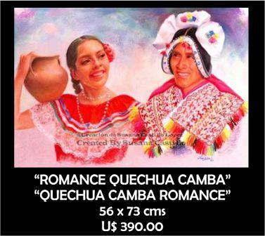 Susana Castillo López Original Pastel Paintings ROMANCE QUECHUA CAMBA