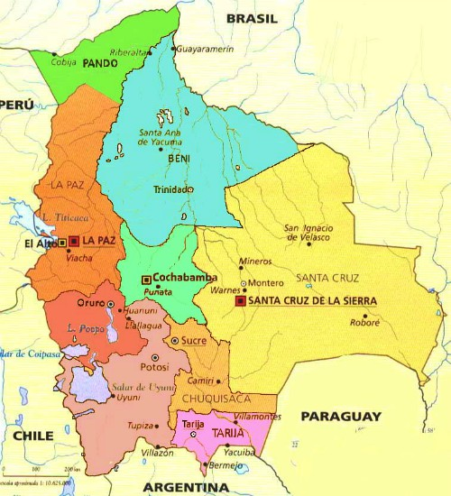 Where Is Bolivia On A Map Bolivia Maps. Travel Map of Bolivia. Bolivian Geography. Facts