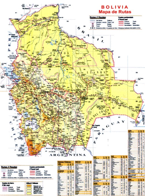 Bolivia Maps. Travel Map of Bolivia. Bolivian Geography. Facts about ...