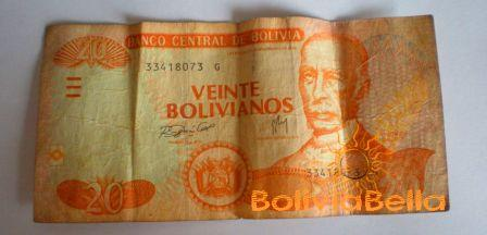 Bolivianos 20 - front side