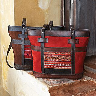 Bolivian leather and suede tote