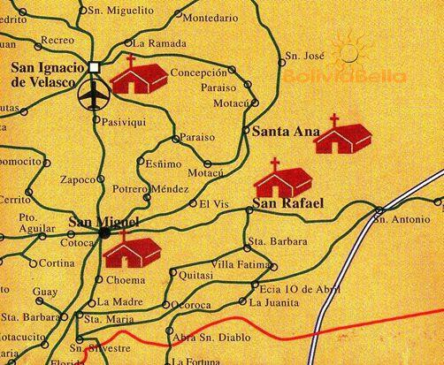 Map of Bolivia showing San Ignacio, San Rafael, Santa Ana and San Miguel