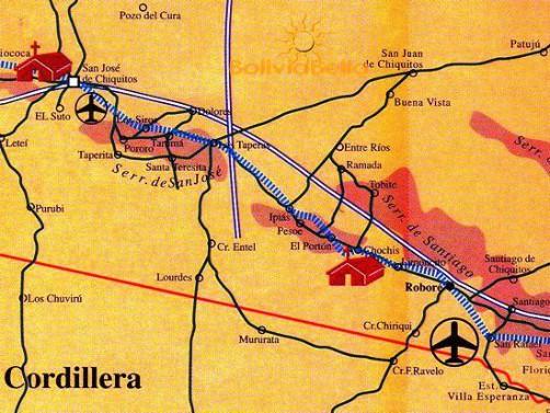 Map of Bolivia showing San José de Chiquitos, Roboré and Santiago de Chiquitos