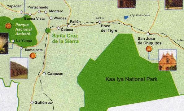 Map of Kaa Iya national park