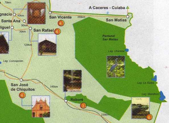Map of the Bolivian Pantanal San Matias