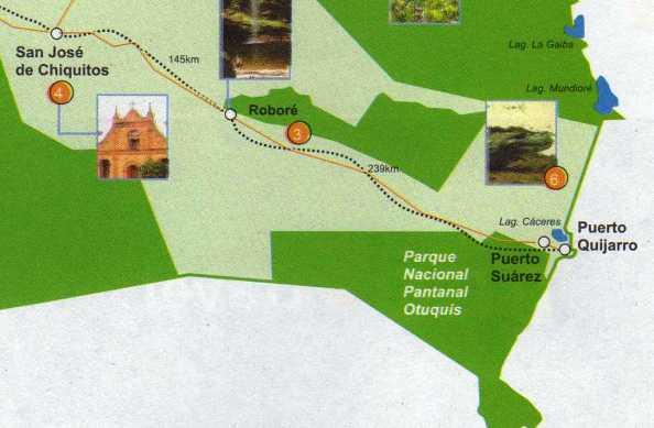 Map of the Bolivian Pantanal Otuquis