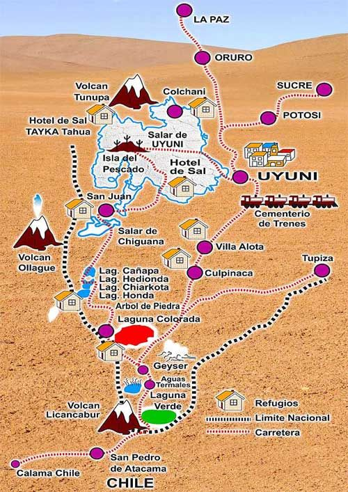 Uyuni Map Gallery | How to Get There | Map of the Salar de ...