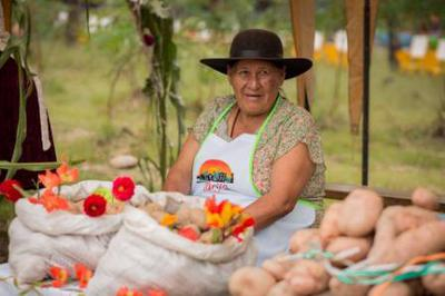 One of the women with her prize winning potatoes