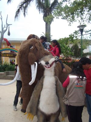 Animals set up for pictures in the pretty little plaza in Coroico, Bolivia