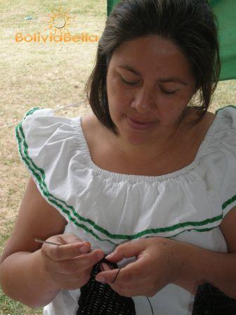 This woman is wearing a typical traditional cruceño dress.