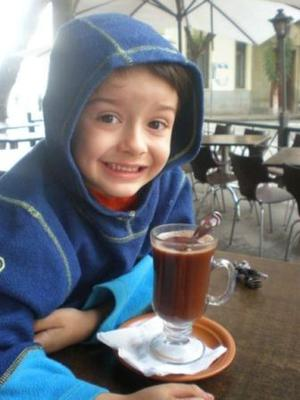 In Bolivia we make hot chocolate with water.