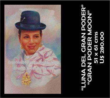 Susana Castillo López Original Pastel Paintings LUNA DEL GRAN PODER