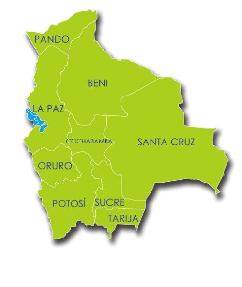 Maps of Bolivia: 9 Departments States