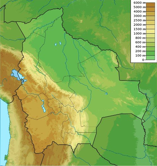 Maps of Bolivia: Elevation, Topography