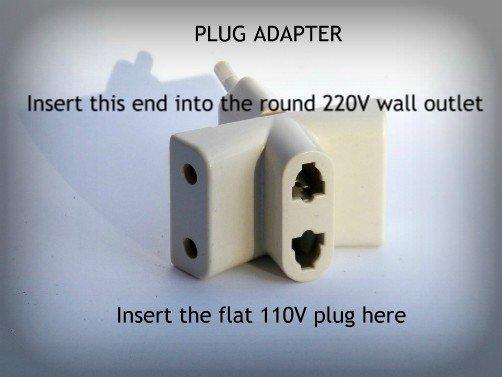 110V to 220V plug adapter