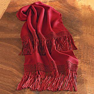 Bolivian macrame alpaca scarf