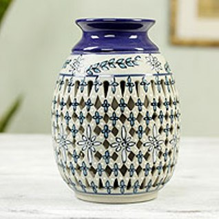 Mexican cut-out ceramic vase
