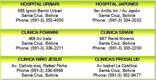 hospitals clinics santa cruz bolivia