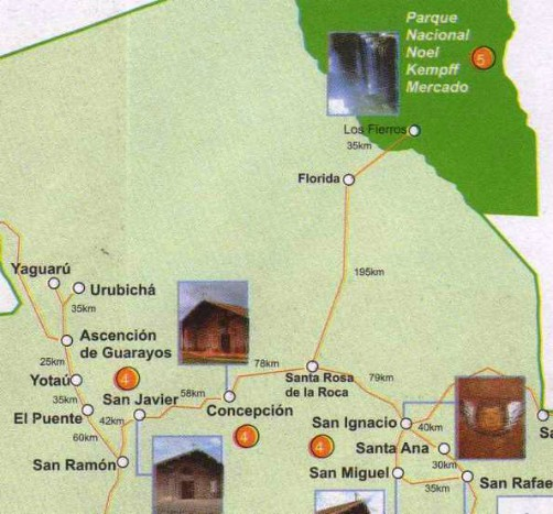 Map of Bolivia showing distances between Santa Cruz and Noel Kempff National Park