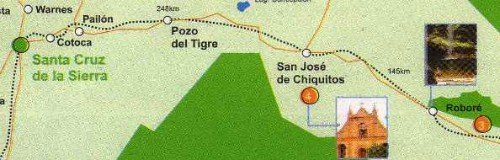 Map of Bolivia showing distances between Santa Cruz, San José de Chiquitos and Roboré