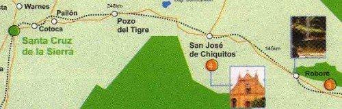 Map of Bolivia showing distances between Santa Cruz, San José de Chiquitos and Roboré