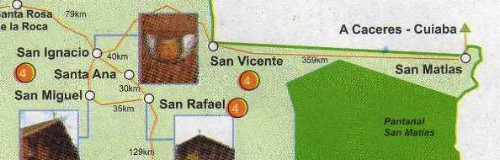Map of Bolivia showing distances between Concepción, San Ignacio de Velasco and San Matías