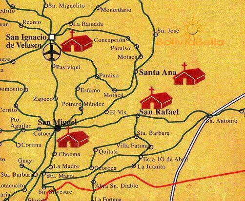 Map of Bolivia showing San Ignacio, San Rafael, Santa Ana and San Miguel