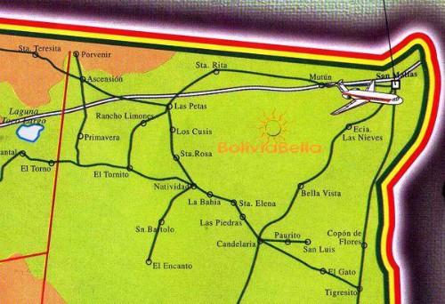 Map of Bolivia showing San Matías and vicinity