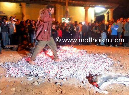 Porongo, Santa Cruz, Bolivia: Walking over hot coals on June 23rd, San Juan