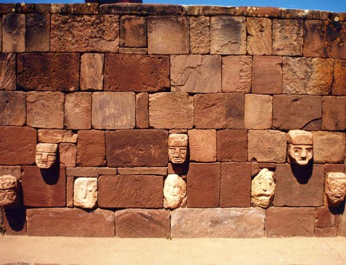 Ancient temple ruins at Tiwanaku in Bolivia
