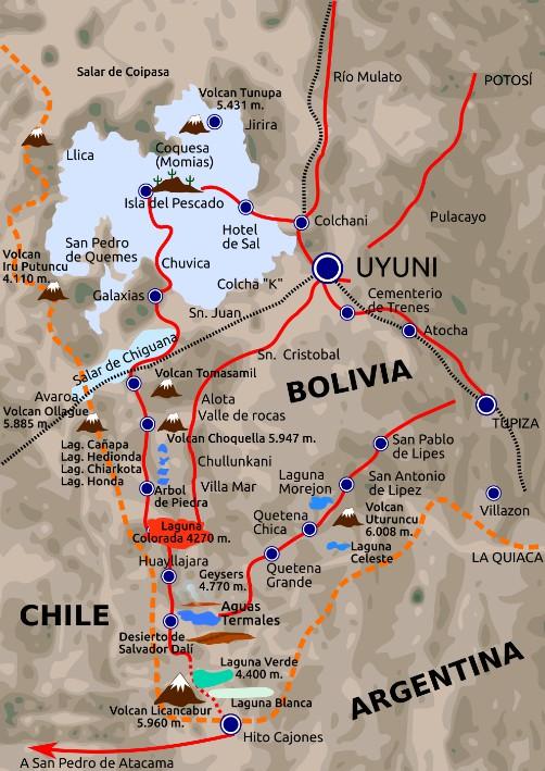 Uyuni Map How to get to Salar de Uyuni Potosi Bolivia