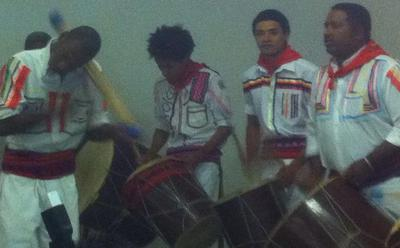 Afro-Bolivian band and dancers performing at the event celebrating International Mother Language Day at the Plurinational Institute of Language and Cultures in Santa Cruz.